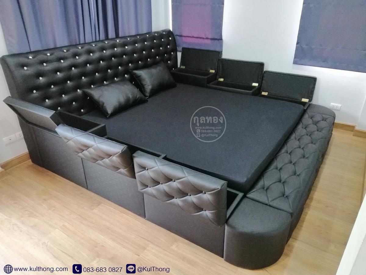 เตียงกล่องเก็บของ เตียงมีกล่อง เตียงมีฝาเปิดรอบทิศ เตียงกล่อง