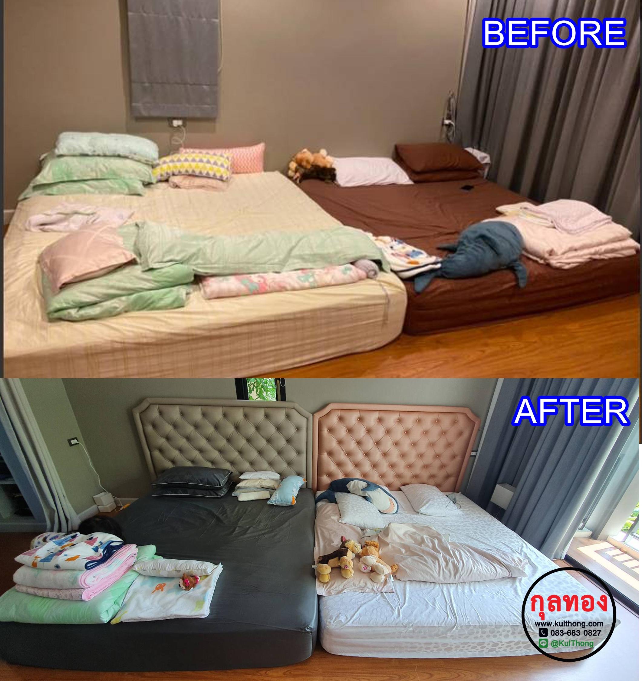 หัวเตียงแขวนผนัง หัวเตียงดึงกระดุม หัวเตียงสำเร็จ หัวเตียงหุ้มหนัง